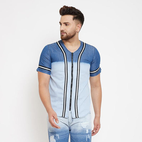 Denim Ombre BaseBall Shirt