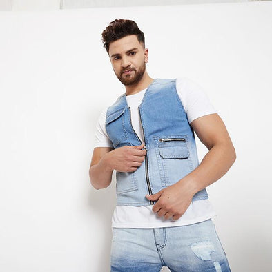 Denim Ombre Sleeveless Utility Jacket