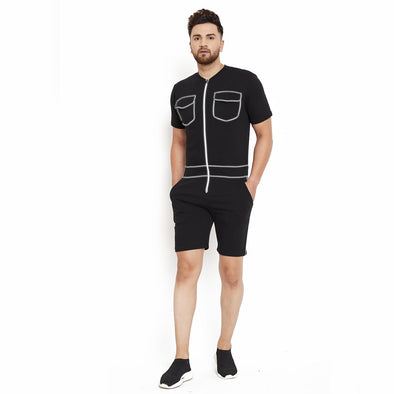 Black Reflective Piping Short Jumpsuit
