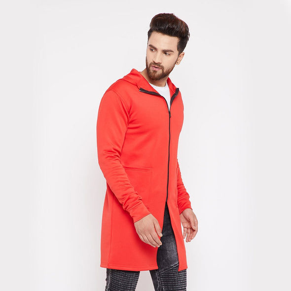 Red Neoprene Hooded Cape OUTERWEAR - Fugazee