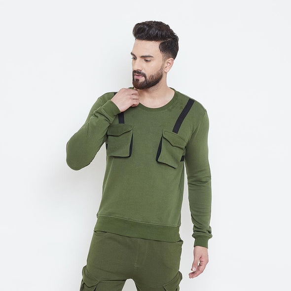 Olive Chest Pocket Taped Sweatshirt