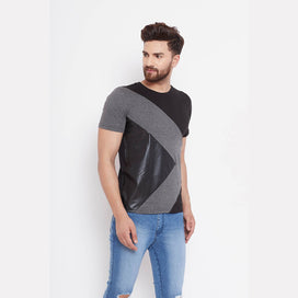 Asymetrical Charcoal Faux Leather Tee T-Shirts - Fugazee