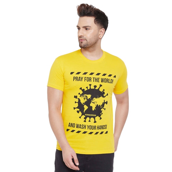 Corona Survivor Printed Yellow Tshirt