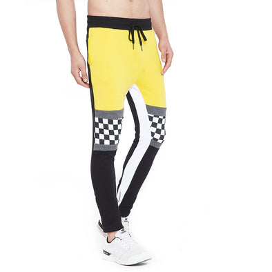 Lemon Checkered Print Contrast Sweatpant Joggers - Fugazee