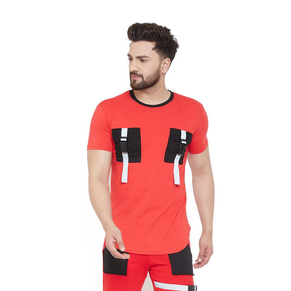 Red Reflective Buckled Chest Pocket Tshirt T-Shirts - Fugazee