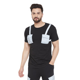 Black Reflective Chest Pocket Taped Tshirt T-Shirts - Fugazee