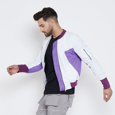 White Lilac Gathered Sleeves Bomber Jacket