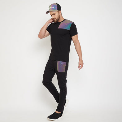 Black Rainbow Reflective Tshirt and Trackpants Clothing Set with Matching Cap