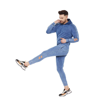 Indigo Oversized Piping Detailed Sweatshirt and Joggers Combo Tracksuit