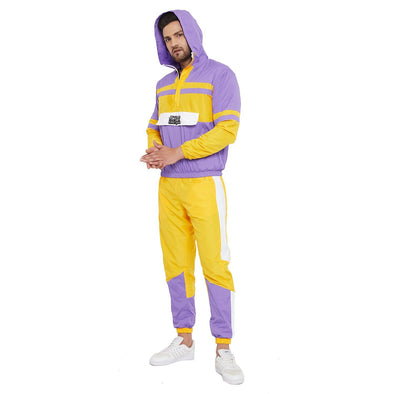 Yellow and Plum Wind Breaker Tracksuit