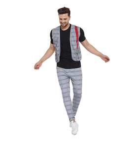 Grey Plaid Radioactive Tape Gillet and Trackpants Combo Set