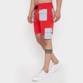 Red reflective Cargo Shorts