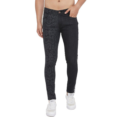 Black Snake Lasered Taped Skinny Denim