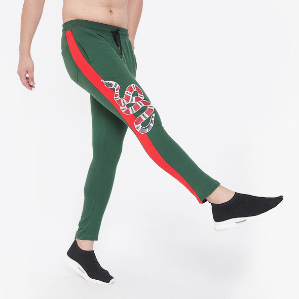 Forest Green Snake Patched Sweatpants Joggers - Fugazee