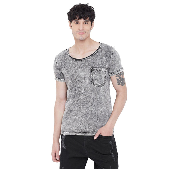 Acid Washed Deep Scoop Neck Tshirt T-Shirts - Fugazee