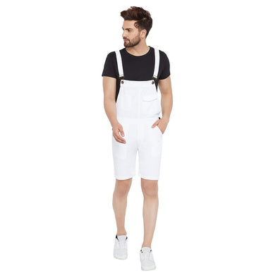 All White Knee Length Dungaree Dungarees - Fugazee