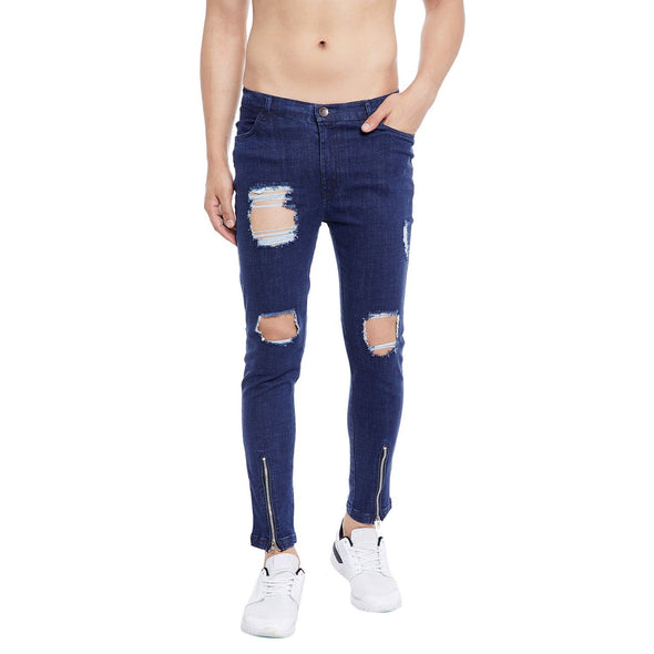 Distressed Vertical Zipped Denim Jeans - Fugazee