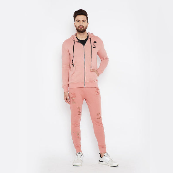 Dusty Rose Ripped Combo JogSuit Suits - Fugazee