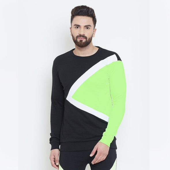 Black & Neon Cut & Sew Sweatshirt