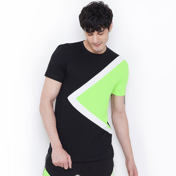 Black on Neon Cut & Sew Tee T-Shirts - Fugazee