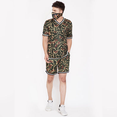 Camo Mesh BasketBall Tshirt and Shorts Combo Suit with Matching Mask