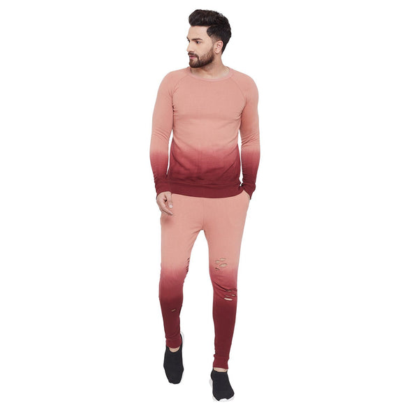 Dusty Rose Ombre Sweatshirt and Sweatpants Combo Jogsuit Suits - Fugazee
