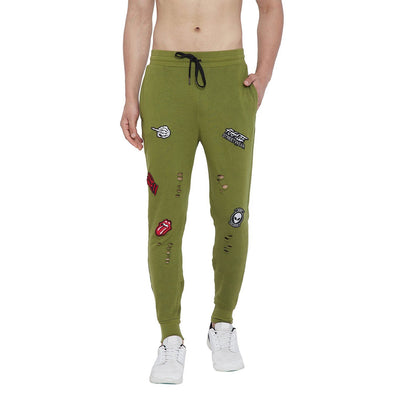 Olive Patched Distressed Joggers Joggers - Fugazee
