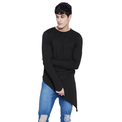 Black Triangular Hem Kurta T-Shirts - Fugazee