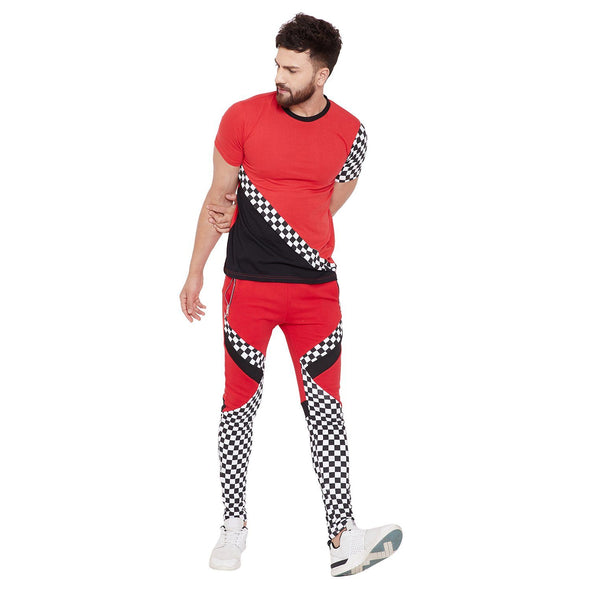 Red Checkered Cut and Sew Tshirt and Joggers Combo Suit Suits - Fugazee