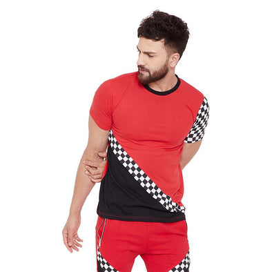 Red Checkered Cut and Sew Tshirt T-Shirts - Fugazee