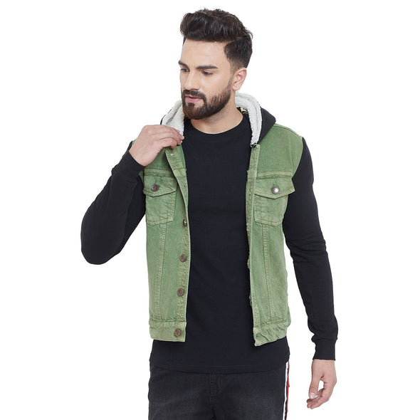 Black Sleeves Green Dyed Denim Jacket