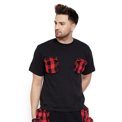 Black Plaid Chest Pocket Tshirt