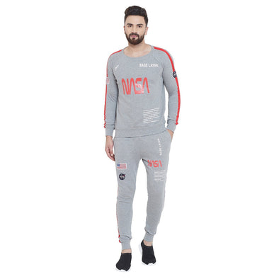 Grey Nasa Space Sweatshirt and Joggers Combo Suit Suits - Fugazee