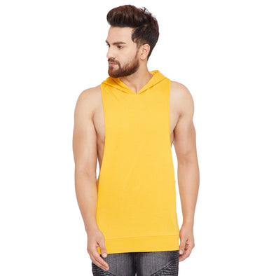 Yellow Hooded Stringer Vest Vest - Fugazee