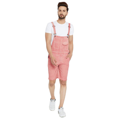 Dusty Rose Short Dungaree Dungarees - Fugazee