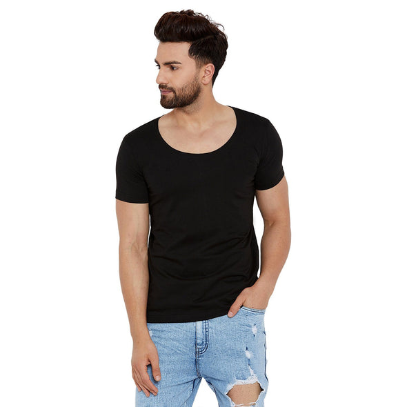 Black Deep Scoop Neck Tee T-Shirts - Fugazee