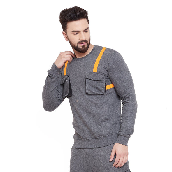 Charcoal Chest Pocket Taped Sweatshirt Sweatshirts - Fugazee