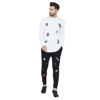 White and Black Patched Distressed Tracksuit