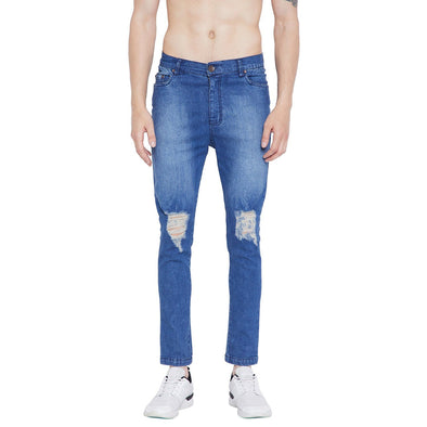 Indigo Knee Distressed Denim Jeans - Fugazee
