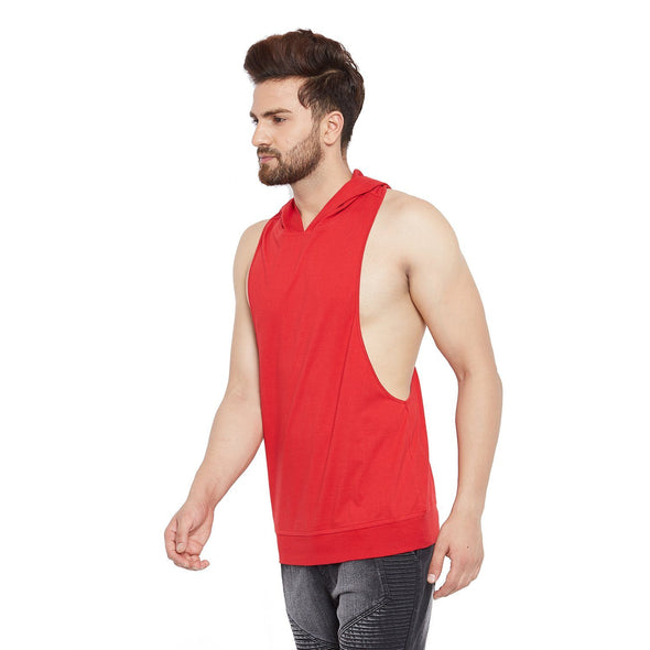 Red Hooded Stringer Vest Vest - Fugazee