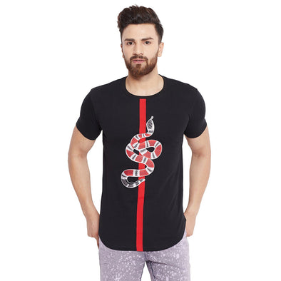 Black Snake Patch Curved Hem Tee T-Shirts - Fugazee