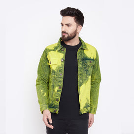 Yellow Grunge Dye Denim Jacket Jackets - Fugazee
