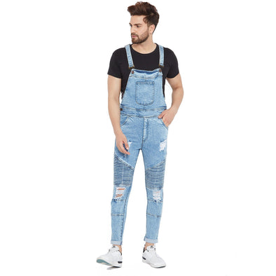 Ice Wash Biker Distressed Dungaree Dungarees - Fugazee
