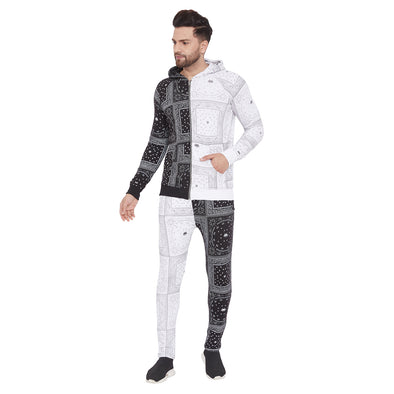 50/50 Black and White Paisley Print Combo Tracksuit