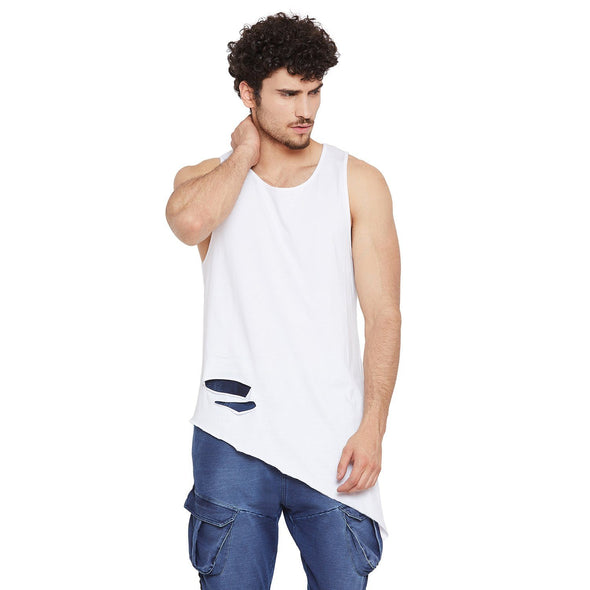 White Triangular Distressed Vest Vest - Fugazee