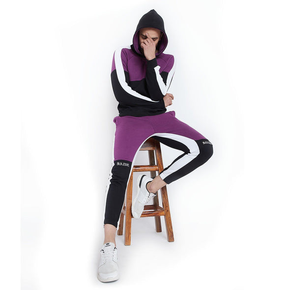 Lilac Contrast Taped Jogsuit Suits - Fugazee