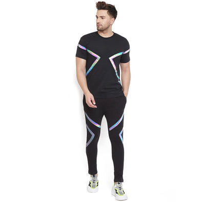Black Rainbow Reflective Taped Tshirt and Joggers Combo Suit