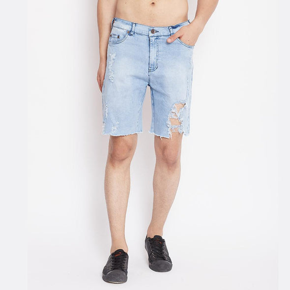 Indigo Heavy Distressed Denim Shorts Shorts - Fugazee
