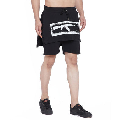 Black Layered Shorts Shorts - Fugazee