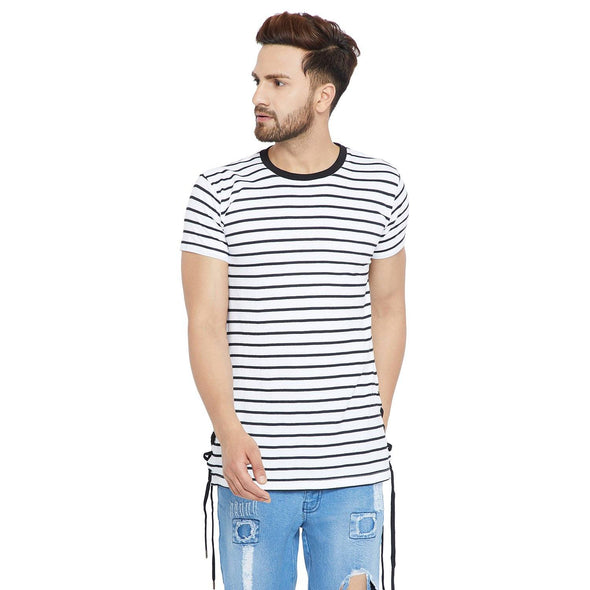 Striped Side Slit Longline Tee T-Shirts - Fugazee